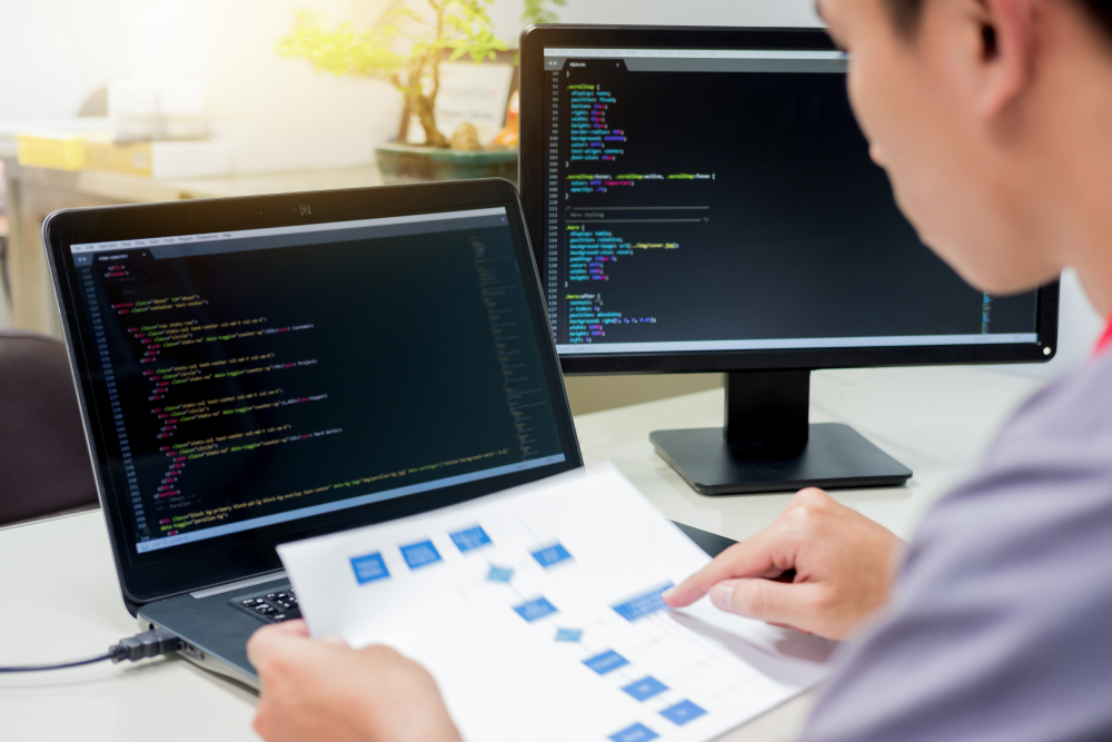 Analista de sistemas de frente a computadores  com códigos de programação na tela